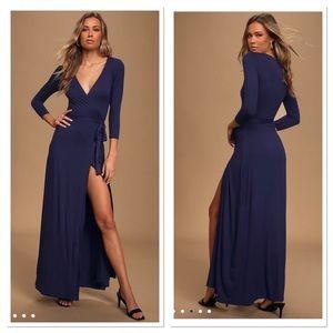 Lulu's Garden District Navy Blue Wrap Maxi Dress M